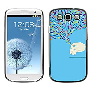 X-ray Impreso colorido protector duro espalda Funda piel de Shell para SAMSUNG Galaxy S3 III / i9300 / i747 - Crying Blue Monster Sad Tears Art Modern