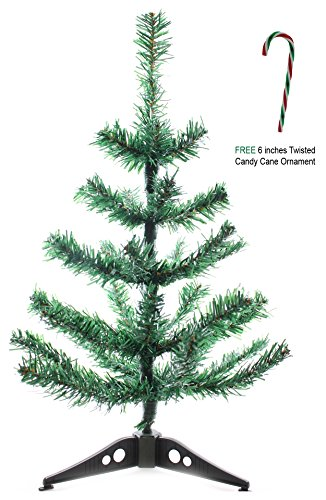 "(18 inches) Potomac Banks Artificial Table-Top Christmas Tree with Free 6"" Candy Cane Ornament (Comes with Free How to Live Stress Free Ebook)"