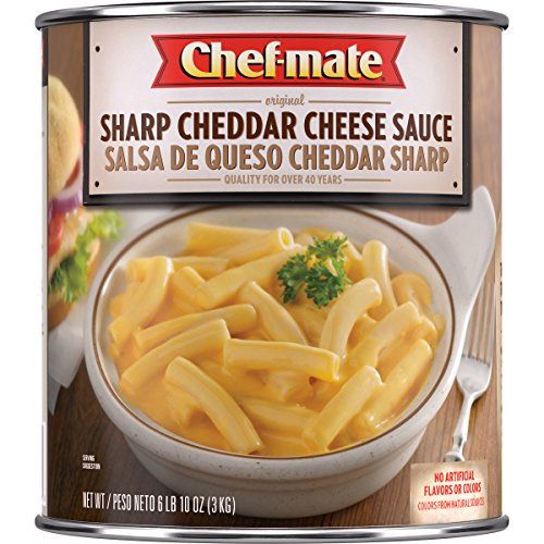 Chef-mate Sharp Cheddar Cheese Sauce,  Nacho Cheese, Macaroni and Cheese, 6 lb 10 oz, #10 Can Bulk