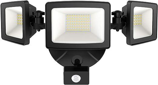 Onforu 50W Foco Exterior LED con Sensor de Movimiento, 3 Cabezas ...