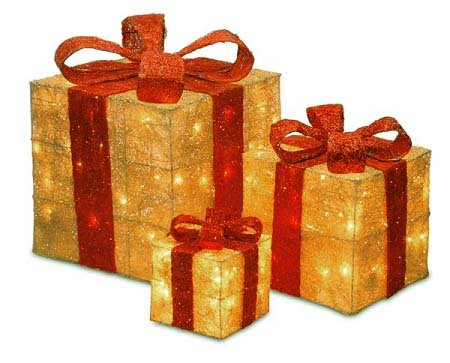 set of 3 sparkling gold sisal gift boxes