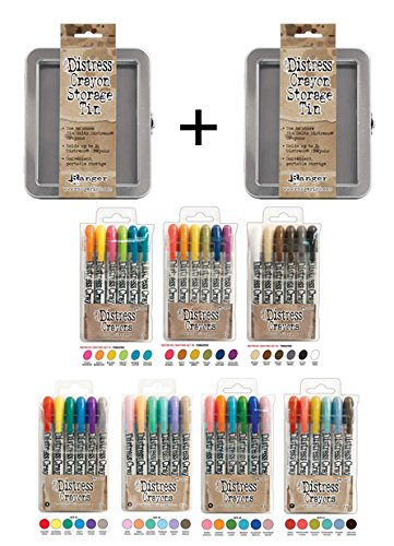 SPECIAL BUNDLE Includes: Ranger Tim Holtz 42 Distress Crayons: Sets #1-7, PLUS 2 Tim Holtz Distress Crayon TINS ()