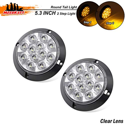 Meerkatt (Pack of 2) 4 Inch Clear Lens Amber LED Round Lamp Turn Signal Tail Light 12 Diodes Super Bright F3 Piranha Camper Tow Truck Bus Trailer Jeep Kenworth Cab Car 12V DC Waterproof GK12 ()