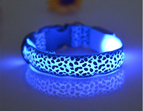 Lalago LED Leopard Print Night Safety Flashing Dog Collar Light up Glowing Pet Collar (Blue, S)