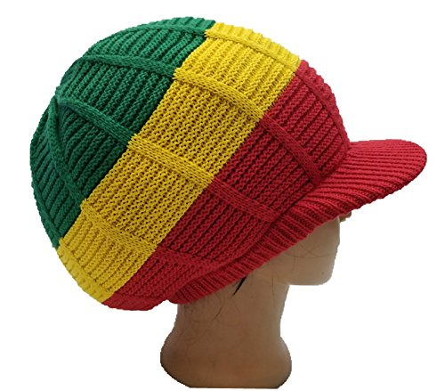 fd2638552 FIREBUNs Green Red Yellow Rasta Hat Cap Rasta Reggae Jamaica Dreadlocks M/L