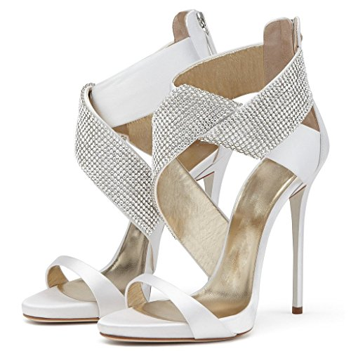 Sandal Heeled Amy Bands Heel Elegant Shoes Crystal Women's White High Q with ptfqI