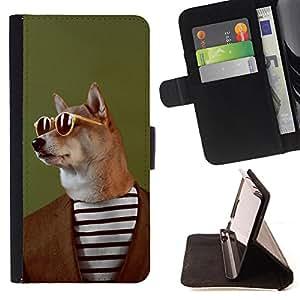 Dragon Case- Mappen-Kasten-Prima caja de la PU billetera de cuero con ranuras para tarjetas, efectivo Compartimiento desmontable y correa para la mu?eca FOR Samsung Galaxy A3 a3000- Funny Dog Head