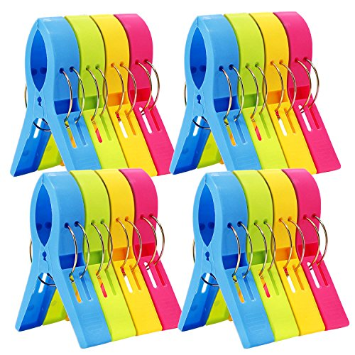 (ESFUN 16 Pack Beach Towel Clips Chair Clips Towel Holder for Pool Chairs on Cruise-Jumbo Size,Plastic Clothes Pegs Hanging Clip Clamps to Keep Your Towel from Blowing Away,Fashion Bright Color)