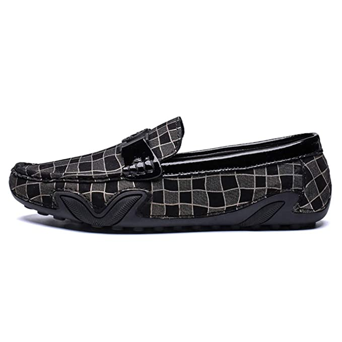 ff6c963d78053 Casual Shoes Men'S Loafers Driving Peas Shoes Square Check Simple  Breathable Flat Shoes Soft Bottom,