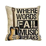 Decorbox Where Words Fall Music Speaks Quote Throw Pillow Case Vintage Cushion Cover Guitar Pillowcase Twin Sides (20x20, color12)