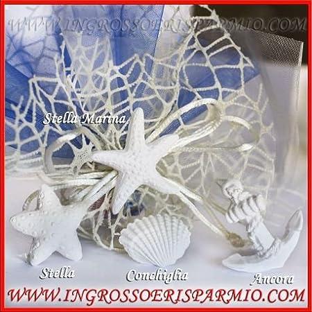 12 pezzi Gessetti bianchi a forma di STELLA MARINA per ricorrenze tema mare 4 cm
