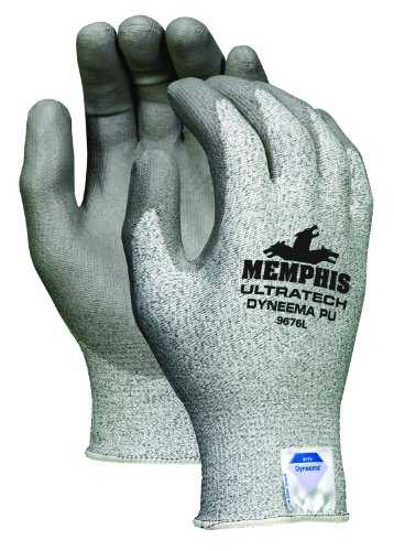 Memphis Glove 9676L UltraTech Dyneema 13-Gauge PU Coating Washable Gloves, Salt and Pepper, Large, - Dyneema Gloves Tech Ultra