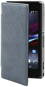 Muvit SESLI0072 - Funda con tapa para Sony Xperia Z1 Compact, color plata azulado