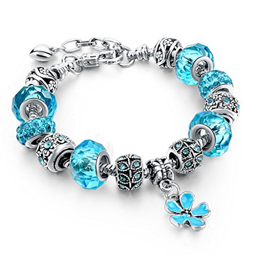 Long Way Silver Plated Snake Chain Blue Glass Bead Heart Charm Bracelet (Blue)