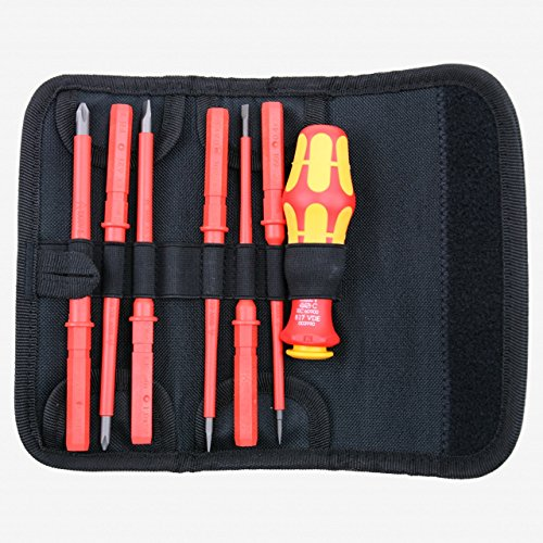 (Wera Kraftform Kompakt VDE 60 i/65 i/7 Slotted/PoziDriv Insulated Interchangeable Blade Set)