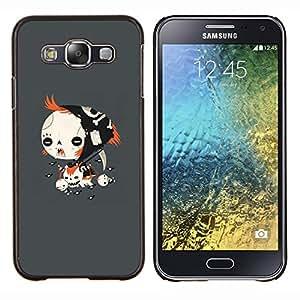 Goth Emo Chica- Metal de aluminio y de plástico duro Caja del teléfono - Negro - Samsung Galaxy E5 / SM-E500