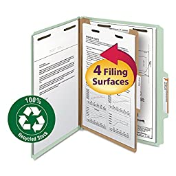 Smead 100% Recycled Pressboard Classification File Folder, 1 Divider, 2\