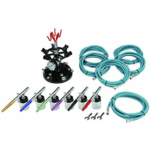 16 Pc Professional 6-Color Airbrush Kit with Holder HFJ14 by Central Pneumatic