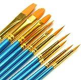 #5: Paint Brush Set, Top Super 10pcs Professional Paint Brushes Artist for Watercolor Oil Acrylic Painting