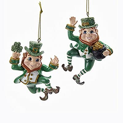 Kurt Adler Dancing Leprechaun 1 Set 2 Assorted Resin Ornaments