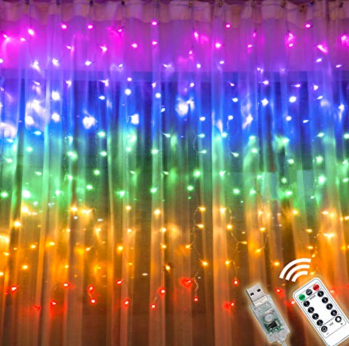 Rainbow Curtain Lights with Remote & 8 Lighting Modes, USB Powered Twinkle LED Fairy Curtain Light, Colorful Window Curtain String Light for Bedroom Girls Room Unicorn Room Wall Party Décor (Rainbow)