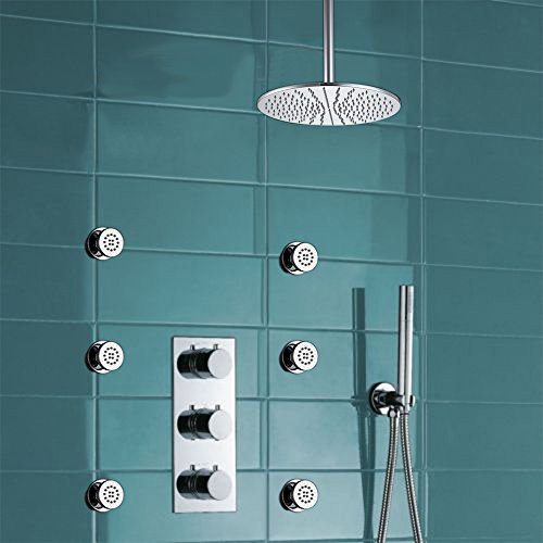 HOMEDEC 10inch Rain Shower Head Thermostatic Shower Valve w/ Metal Bar Handset with 6 pieces Massage shower body jets (Valve Bar Thermostatic Shower)