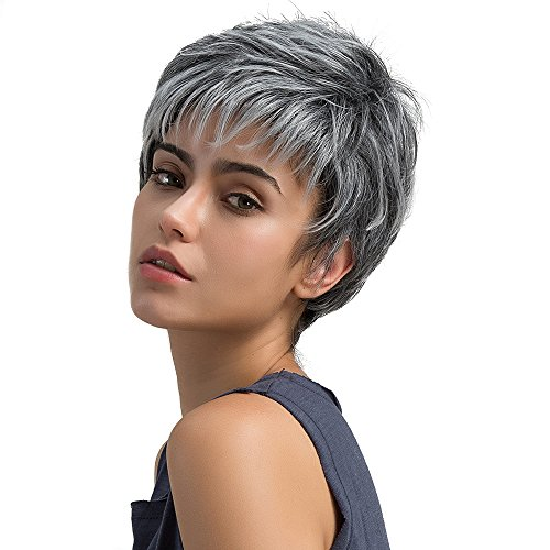 Short Pixie Cut Hair Short Light Gray Synthetic Wigs Women Heat Resistant Hairpieces Women's (a) -