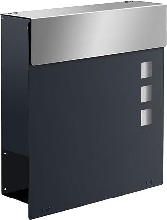 frabox Design Briefkasten Namur EXKLUSIV Anthrazitgrau/Edelstahl