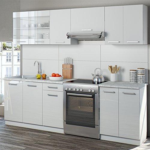 Serina küchenzeile 240 cm 7 schrank module frei kombinierbar küche küchenblock einbauküche hochglanz weiß hochglanz amazon de küche haushalt