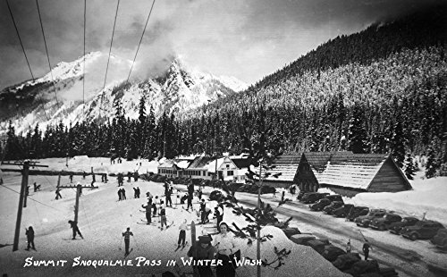 Snoqualmie Pass  Washington   View Of The Ski Summit  12X18 Collectible Art Print  Wall Decor Travel Poster