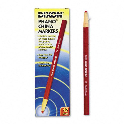 Dixon Peel-Off China Marker, Red, 24-Count (00079)