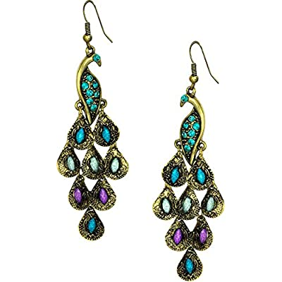"""Gold Tone Vintage Peacock Blue Epoxy Crystal Feather Dangle Statement Earrings, 2.25"""" hot sale"""