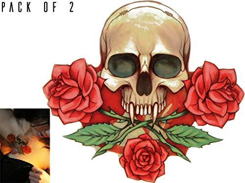 Novu Ink Skull n Roses Temporary Tattoo Art Design Fake Tattoos Transfers Pack of 2 (12.5cm x -