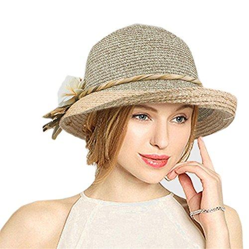 Puissant Good Quality Summer Hat Women Raffia Straw Cap Ladies Big Brim Sun Hat Hat forgirlbeach Hat,58cm,Khaki -