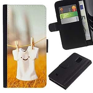Planetar® Modelo colorido cuero carpeta tirón caso cubierta piel Holster Funda protección Para Samsung Galaxy Note 4 IV / SM-N910 ( Cute T Shirt Smiley )