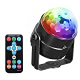 Elikeable LT DJ Lights Disco Ball ,Sound Activated Strobe Lights 7 Color Changing RGB 15 Keys Remote Control Portable Mini LED Stage Effect Magic Ball Rotating for Party KTV Karaoke Dance Club Pub