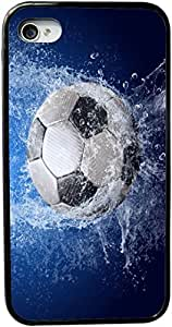 Rikki KnightTM Soccer Ball Splash Design iPhone 4 & 4s Case Cover (Black Rubber with bumper protection) for Apple iPhone 4 & 4s