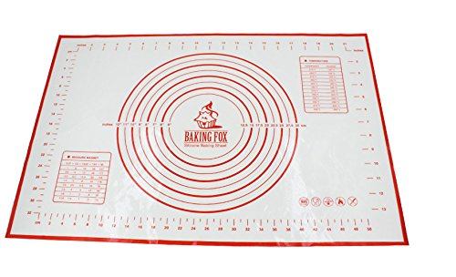 (Silicone Pastry Mat With Measurements, 60 x 40cm, Full Sticks To For Rolling Dough, Perfect Fondant Surface - Red)