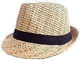 Simplicity Summer Panama Fedora Cap Sun Straw Hat, 745_Brown LXL