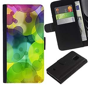 Planetar® Modelo colorido cuero carpeta tirón caso cubierta piel Holster Funda protección Para Samsung Galaxy S5 Mini / SM-G800 (Not For S5!!!) ( Colors Circle Pattern Lime Green )