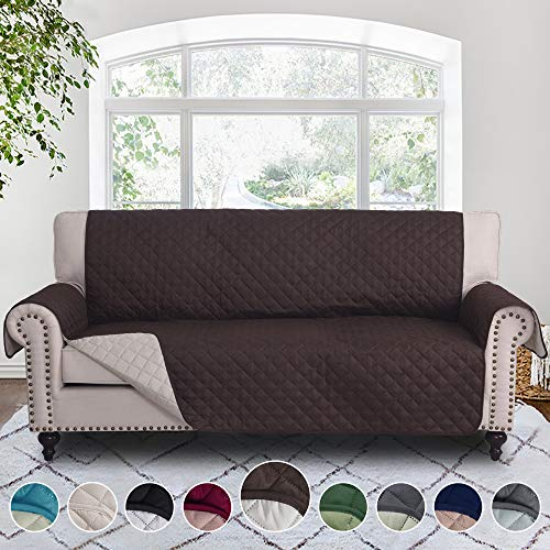 RHF Reversible Sofa Cover, Couch Covers for 3 Cushion Couch, Couch Covers for Sofa, Couch Cover, Sofa Covers for Living Room,Couch Covers for Dogs, Sofa Slipcover,Couch Protector(Sofa:Chocolate/Beige) (Cover Sofa 90)