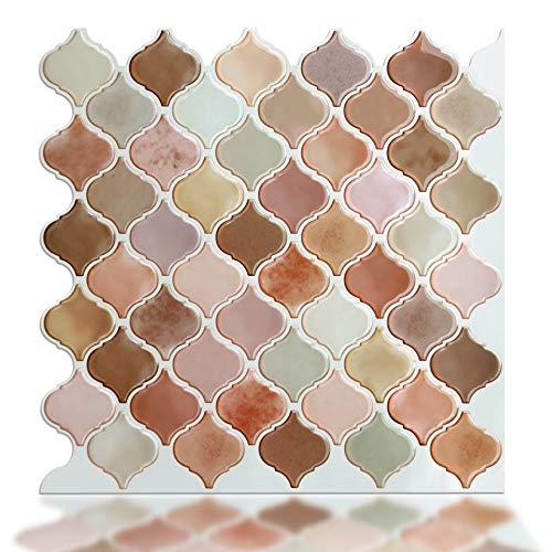 (STICKGOO Premium Kitchen Backsplash Peel and Stick, Pink Arabesque Tile Backsplash, Stick on Wall Tiles, Self Adhesive Backsplash Sticker, Pack of 6)