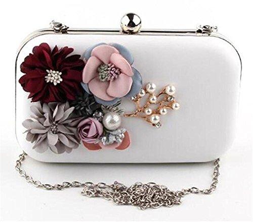 Flower NVBAO Dress Clutch Women Wedding Bags Handbag White Shoulder Party Evening PU RrqR0w