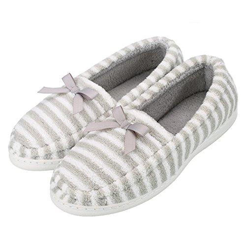 Sibba Mujeres House Slipeprs Soft Yoga Driving Zapatos Alpargata De Velour De Microfibra Bailarina Flat Gray Stripe