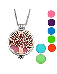 Alloy Essential Oils Aromatherapy Diffuser Necklace Tree of Life Locket Pendant with Different Color