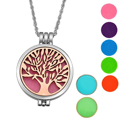 Price comparison product image Alloy Essential Oils Aromatherapy Diffuser Necklace Tree of Life Locket Pendant,Silver Tone+Antique rose copper