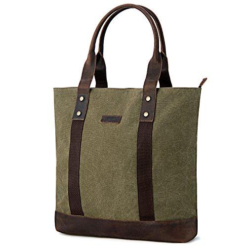 GRM Women's Canvas Leather Laptop Tote Bag Shoulder Handbag for School Work