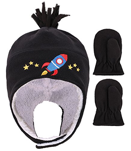 YoungLove Toddlers Polar Fleece wWinter Set Warm Hat and Mittens for Kids, Black,2-4 Year