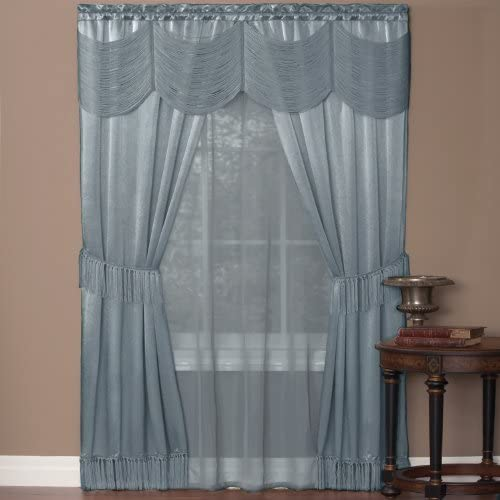 Achim Home Furnishings Ombre Panel, 50 by 84 , Blue Halley Curtain in a Bag Full Window Solution, Ice, 56 x 84-Inch