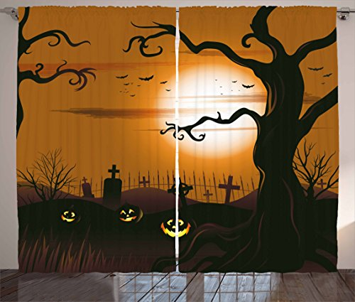 Ambesonne Halloween Decorations Curtains, Leafless Creepy Tree with Expanding Twiggy Branches at Night in Cemetery Graphic, Living Room Bedroom Decor, 2 Panel Set, 108 W X 90 L Inches, Brown Tan